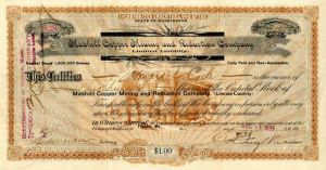 Marshall Copper Mining and Reduction Company - Stock Certificate