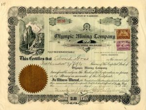 Olympic Mining Company - Stock Certificate