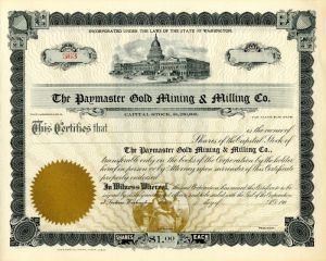Paymaster Gold Mining & Milling Co. - Stock Certificate