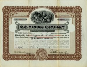 Q. S. Mining Company - Stock Certificate