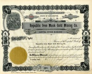 Republic Iron Mask Gold Mining Co. - Stock Certificate