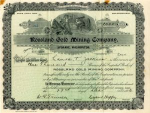 Roseland Gold Mining Company - Stock Certificate