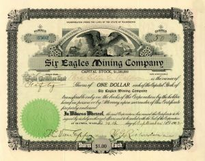 Six Eagles Mining Company - Stock Certificate