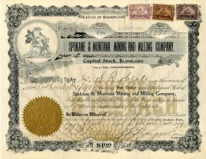 Spokane & Montana Mining and Milling Company - Stock Certificate