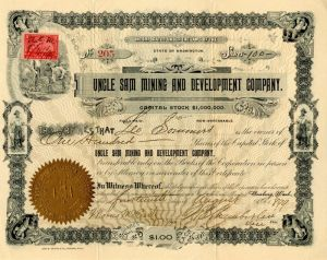 Uncle Sam Mining and Development Company - Stock Certificate