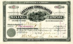 Cheyenne Consolidated Mining Company - Stock Certificate