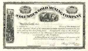 Columbia Gold Mining Company - Stock Certificate