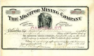 Monitor Mining Company - Stock Certificate