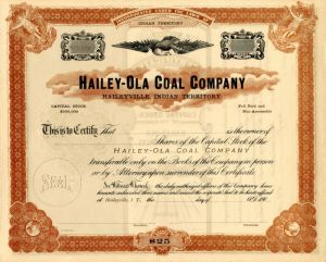 Hailey-Ola Coal Company - Stock Certificate