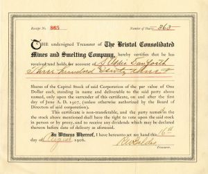 Bristol Consolidated Mines and Smelting Company - Stock Certificate