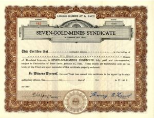 Seven-Gold-Mines Syndicate - Stock Certificate - SOLD