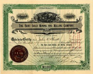 Burt Gold Mining and Milling Company - Stock Certificate