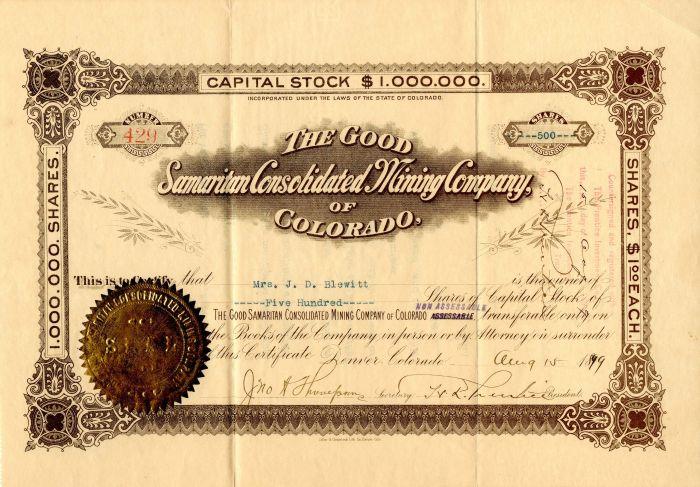 Good Samaritan Consolidated Mining Company of Colorado - Stock Certificate