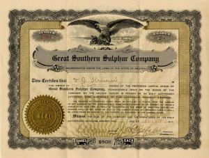 Great Southern Sulphur Company - Stock Certificate