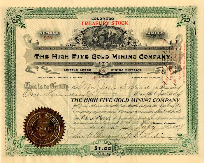 High Five Gold Mining Company - Stock Certificate