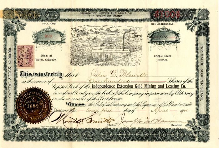 Independence Extension Gold Mining and Leasing Co. - Stock Certificate