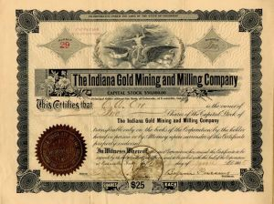 Indiana Gold Mining and Milling Company - Stock Certificate