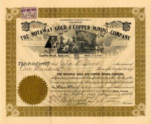 Notaway Gold and Copper Mining Company - Stock Certificate