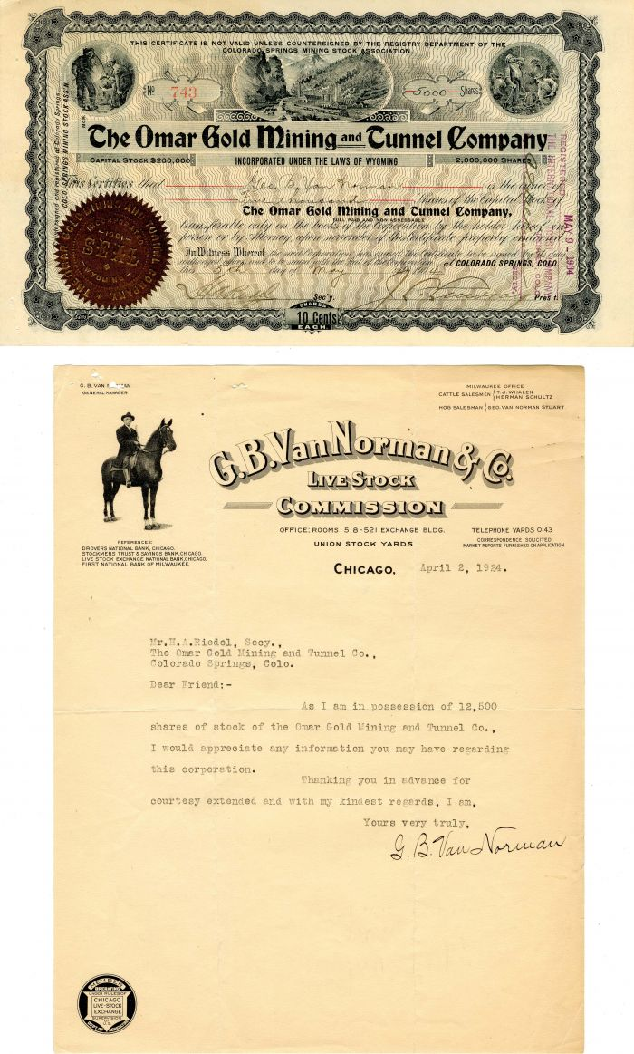 Omar Gold Mining and Tunnel Company - Stock Certificate