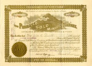 Pinnacle Gold Mining Company - Stock Certificate - SOLD