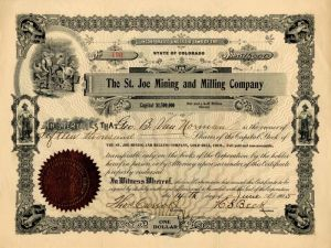 St. Joe Mining and Milling Company - Stock Certificate
