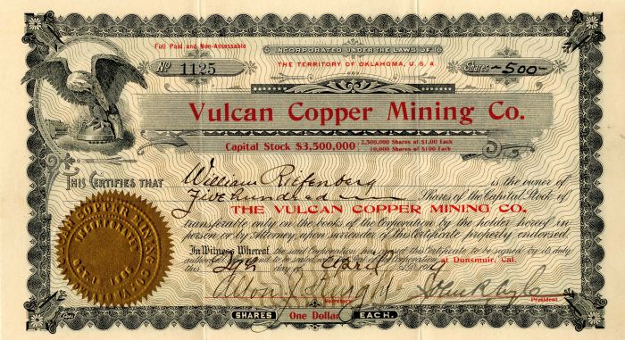 Vulcan Copper Mining Co. - Stock Certificate
