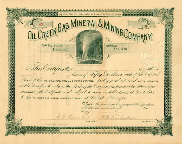 Oil Creek Gas Mineral & Mining Company - Stock Certificate