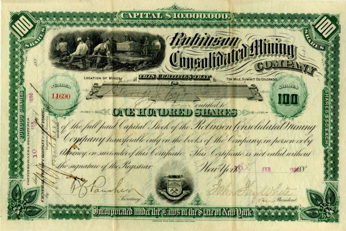 Robinson Consolidated Mining Company - Stock Certificate