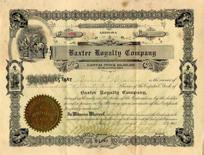 Baxter Royalty Company - Stock Certificate