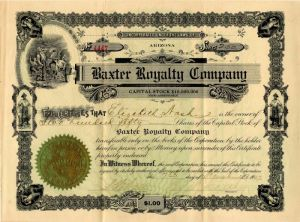 Baxter Royalty Company - Stock Certificate