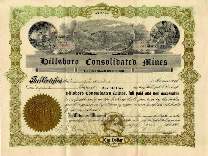 Hillsboro Consolidated Mines - Stock Certificate