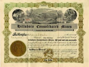 Hillsboro Consolidated Mines - Stock Certificate