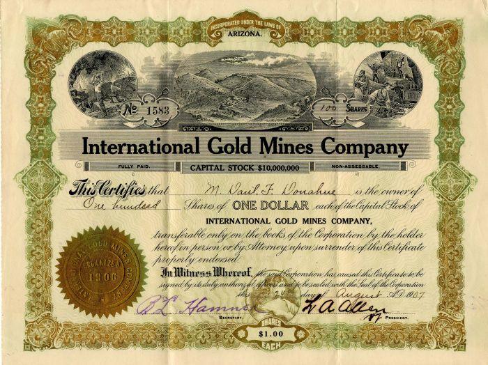 International Gold Mines Company - Stock Certificate