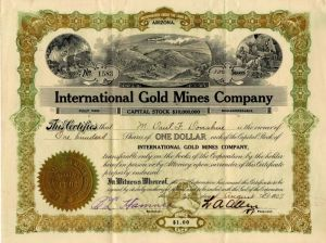International Gold Mines Company - Stock Certificate