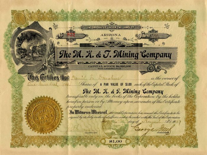 M.K. and T. Mining Company - Stock Certificate - SOLD