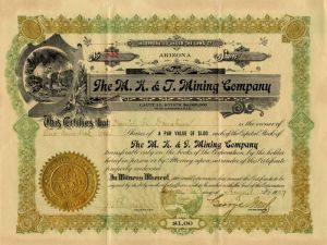 M.K. & T. Mining Company - Stock Certificate - SOLD
