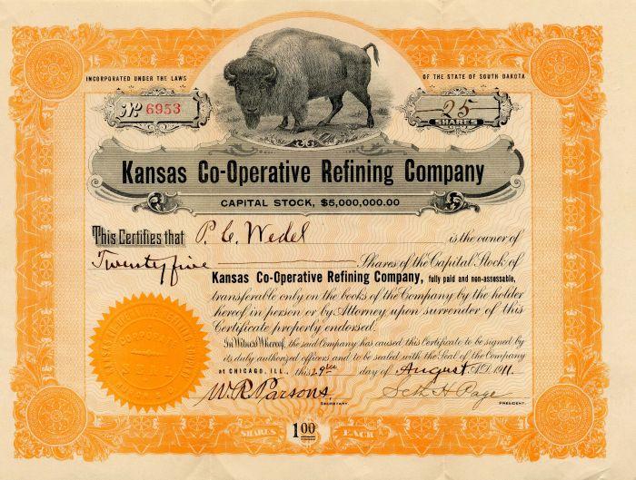 Kansas Co-Operative Refining Company - Stock Certificate