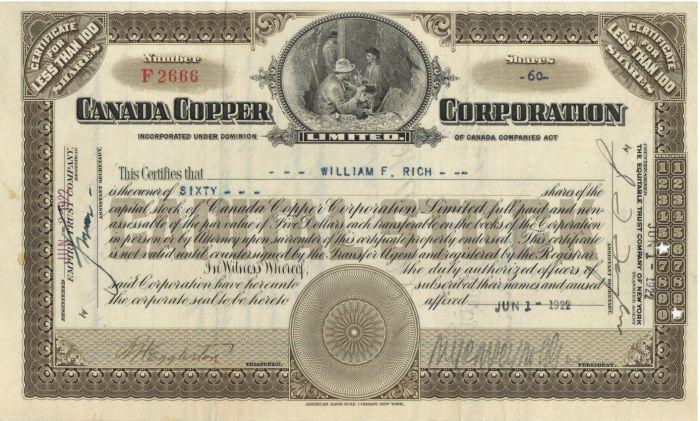 Canada Copper Corporation - Stock Certificate