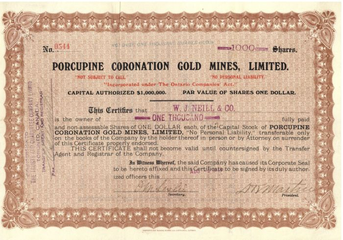 Porcupine Coronation Gold Mines, Limited - Stock Certificate