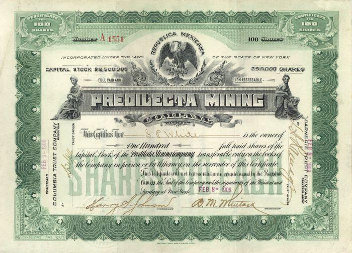 Predilecta Mining Company - Stock Certificate