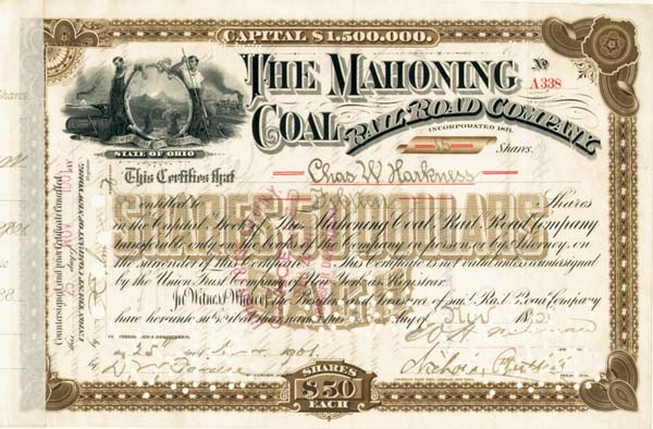 C. W. Harkness signed Mahoning Coal Railroad - Stock Certificate
