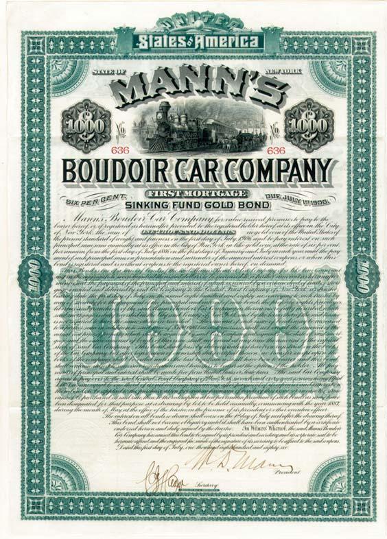 Mann's Boudoir (Railroad) Car Co $1,000 Uncanceled Gold Bond signed by William D'Alton Mann