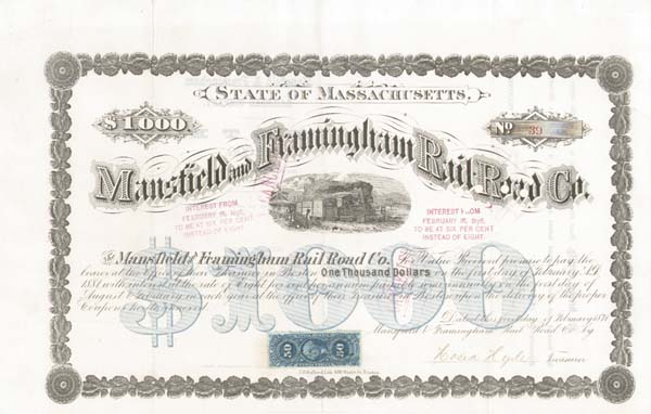 Mansfield and Framingham Railroad - Bond