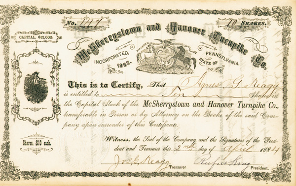 McSherrystown and Hanover Turnpike - Stock Certificate (Uncanceled)