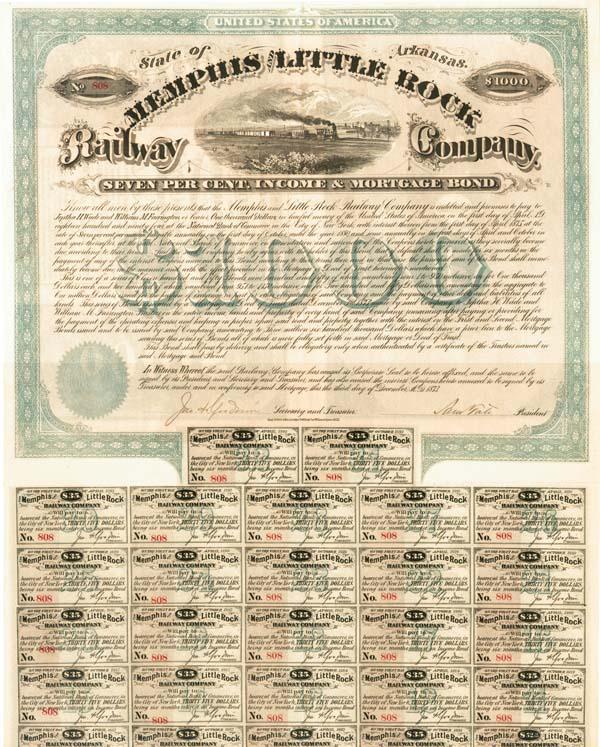 Jeptha H. Wade - Memphis & Little Rock Railway - Bond