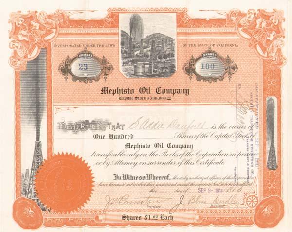 Mephisto Oil Company - Stock Certificate