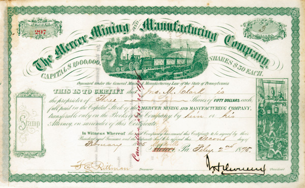 John Henry Devereux - Mercer Mining and Manufacturing Co - Stock Certificate