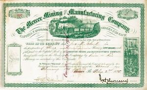 John Henry Devereux - Mercer Mining & Manufacturing Co - Stock Certificate