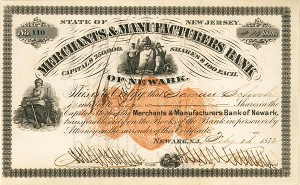 Merchants and Manufacturers' Bank - Stock Certificate