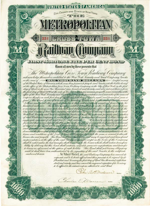 Metropolitan Cross-Town Railway Company  Signed by Peter A. B. Widner - $1,000 - Bond